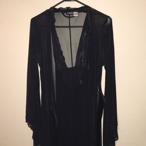 Frederick's of Hollywood black chemise & robe